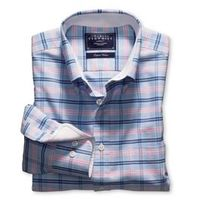 General Clothing   - Sky & pink check washed Oxford casual classic fit shirt