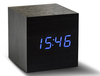 Garden & Leisure Cube Black Click Clock LED Blue