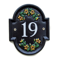 Oval Cross House Number Sign