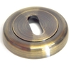 Round Escutcheon with a Radius Edge - Antique Brass Finish