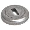Round Escutcheon with a Radius Edge - Distressed Silver Finish