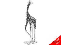 Black and Silver Giraffe Sculpture - Looking Back