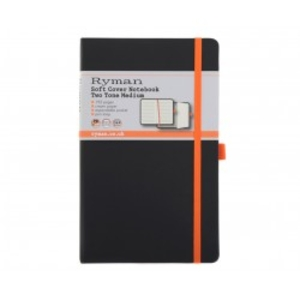 Office Supplies  - Ryman Soft Cover Notebook Medium Ruled 192 Page, Black/Orange