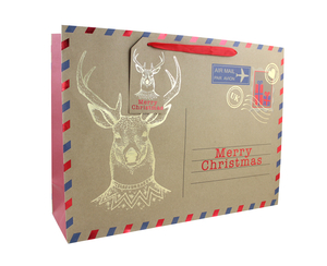 Other Occasions  - Stag Christmas Parcel Gift Bag Large