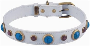 Pets  - Dosha Dog  Imperial Faceted Turquoise & Cat Eye Dog Collar