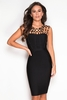 Women's Dresses & Skirts Luxe Gold Ring Embellished Bandage Dress