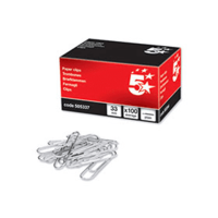 Printer Consumables  - 5 Star Large (33mm) Plain Metal Paperclips (100 Pack)