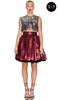 Women's Accessories Fabienne Persephone Silver and Burgundy Satin Dress