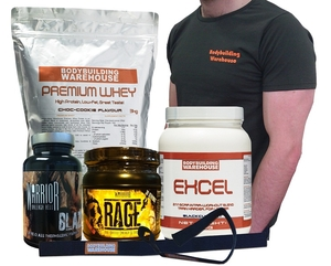 Ultimate New Year Stack - Premium Whey 3kg,  Excel 500g,  Blaze,  Rage,  Straps and T-Shirt! - Save Over £20!