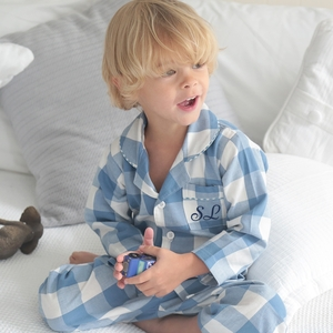 - Personalised Blue And White Checked Pyjamas