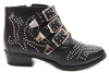 NOVA Studded Buckle Ankle Boots BLACK