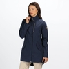 Womens Alzea Long Length Waterproof Jacket Navy with Zip Off Hood