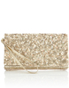 Bags Multi Sequin Flapover Clutch Bag Gold