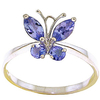 Women's Jewellery Tanzanite Butterfly Ring 0.6ctw in 9ct White Gold