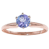 Women's Jewellery Tanzanite Crown Solitaire Ring 0.65ct in 9ct Rose Gold