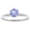 Women's Jewellery Tanzanite Crown Solitaire Ring 0.65ct in 9ct White Gold