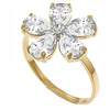 Women's Jewellery White Topaz and Diamond Five Petal Ring 2.2ctw in 9ct Gold