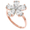 Women's Jewellery White Topaz and Diamond Five Petal Ring 2.2ctw in 9ct Rose Gold
