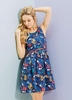 Women's Dresses & Skirts Yumi Navy Botanical Postcard Print Dress