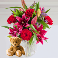 - Romantic Lily & Rose Bouquet With Teddy Bear