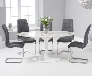 - Brighton 160cm Oval White Marble Dining Table With Lorin Dining Chairs - Cream, 4 Chairs