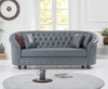 Chloe Grey Leather 3 Seater Sofa