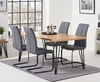 Ex-display Retiro 160cm Dining Table with 4 GREY Liza Antique Hoop Leg Dining Chairs