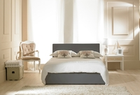 Furniture  - Madrid Grey Faux Leather Ottoman Double Bed