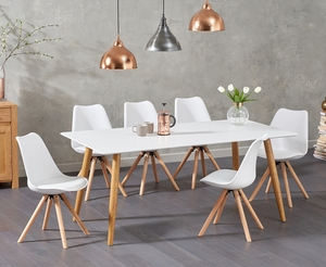 - Malmo 180cm Matt White Dining Table with Oscar Faux Leather Round Leg Chairs