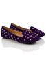 Amber Studded Flats in Violet Suede