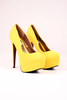 Asha Platform Court Shoes in Yellow Suede