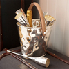 Leather Handled Silver Wine Cooler With Six Champagne Flutes - Pre-Order - Due Late October