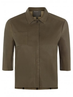 - Muubaa Franca Olive Cropped Leather Shirt