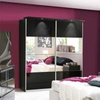 Furniture Chelsea Mirrored Sliding Wardrobe - Black