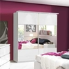 Furniture Chelsea Mirrored Sliding Wardrobe - White