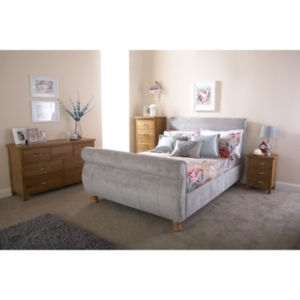 Furniture  - Chicago Sleigh Bed Frame - Silver / Double