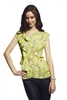Women's Clothing Liquorish Lemon Blossom Frill Front Top
