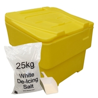 Office Supplies  - 60 Litre Yellow Grit Bin - 1x 25kg bag of salt & scoop