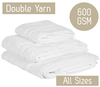 White Royal Egyptian Double Cotton Yarn Towels 600GSM All Sizes