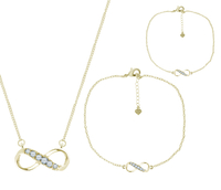- Infinity Pendant, Bracelet & Anklet in 14K Gold Plating, Made with Swarovski Elements