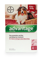 Advantage Flea Prevention and Treatment Solution for Dogs of 10kg to less than 25kg - 4 x 2.5ml.