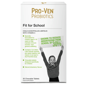 Proven Probiotics Child Acidophilus & Bifidus With Vitamin C. Fit For School 30 Chewable Tablets