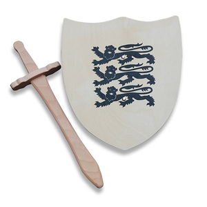 - 3 Lions Wooden Shield & Sword