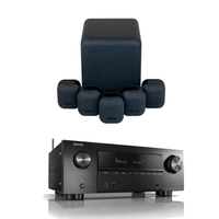Amplifiers & Receivers  - Denon AVRX2700H 7.2 ch 8K AV Receiver with Monitor Audio MASS 5.1 Gen 2 Surround Sound Speaker System Midnight Black