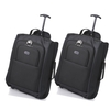 Set of 2 Cabin-Sized Wheeled Luggage Trolley Bags (Black (55CM))