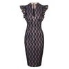 Women's Dresses & Skirts Fiona Lace Deep V Neckline Dress Sand with Navy (8)