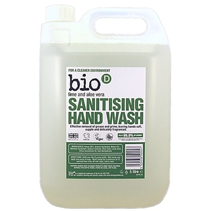 Bio-D Sanitising Lime & Aloe Vera Hand Wash Refill - 5L (Lime & Alo...