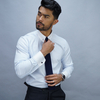 Men's Tops TMF - Business dress shirt in luxurious white and blue herringbone