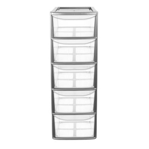 77L Premier 5 Drawer A4 Plastic Storage Tower Clear & Grey
