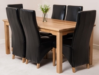 Furniture  - Aspen 180cm Solid Oak Dining Table & 6 Black Lola Leather Dining Chairs